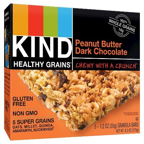 KIND Healthy Grains Peanut Butter Dark Chocolate Chunk, Gluten Free Granola Bars - 5ct - image 1 of 2