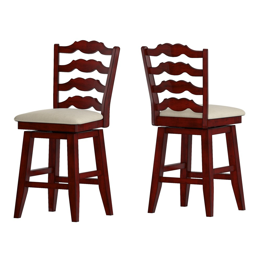 """Image of """"24"""""""" South Hill French Ladder Back Swivel Counter Height Chair Red - Inspire Q"""""""