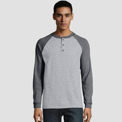 Hanes Men's Long Sleeve Beefy Raglan Henley Shirt