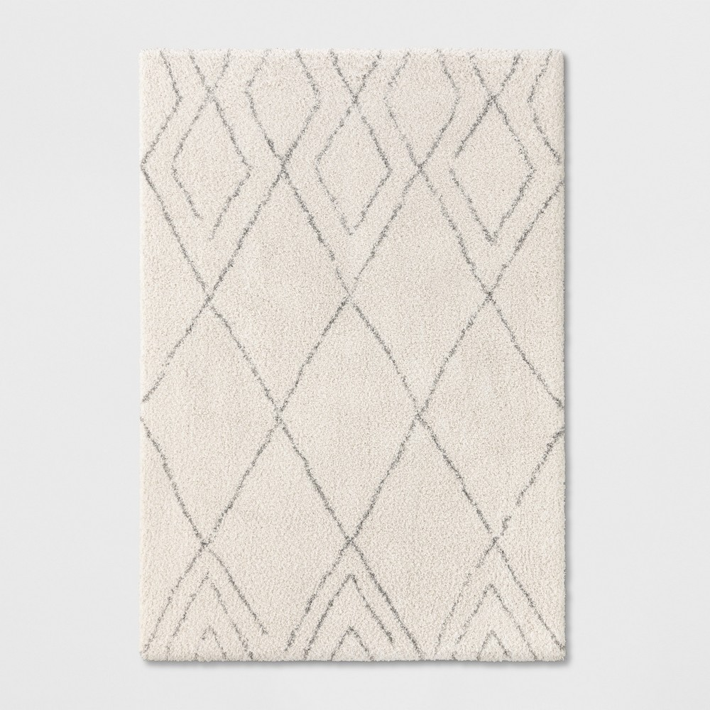 7'X10' Diamond Woven Area Rugs Cream (Ivory) - Project 62