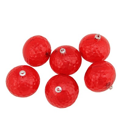 """Northlight 6ct Transparent Shatterproof Hammered Christmas Disco Ball Ornament Set 2.5"""" - Red"""