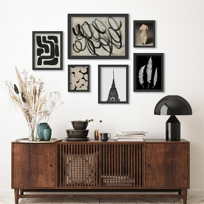 Americanflat Monochromatic Ink Maze Building Scribble by 6 Piece Framed Gallery Wall Art Set