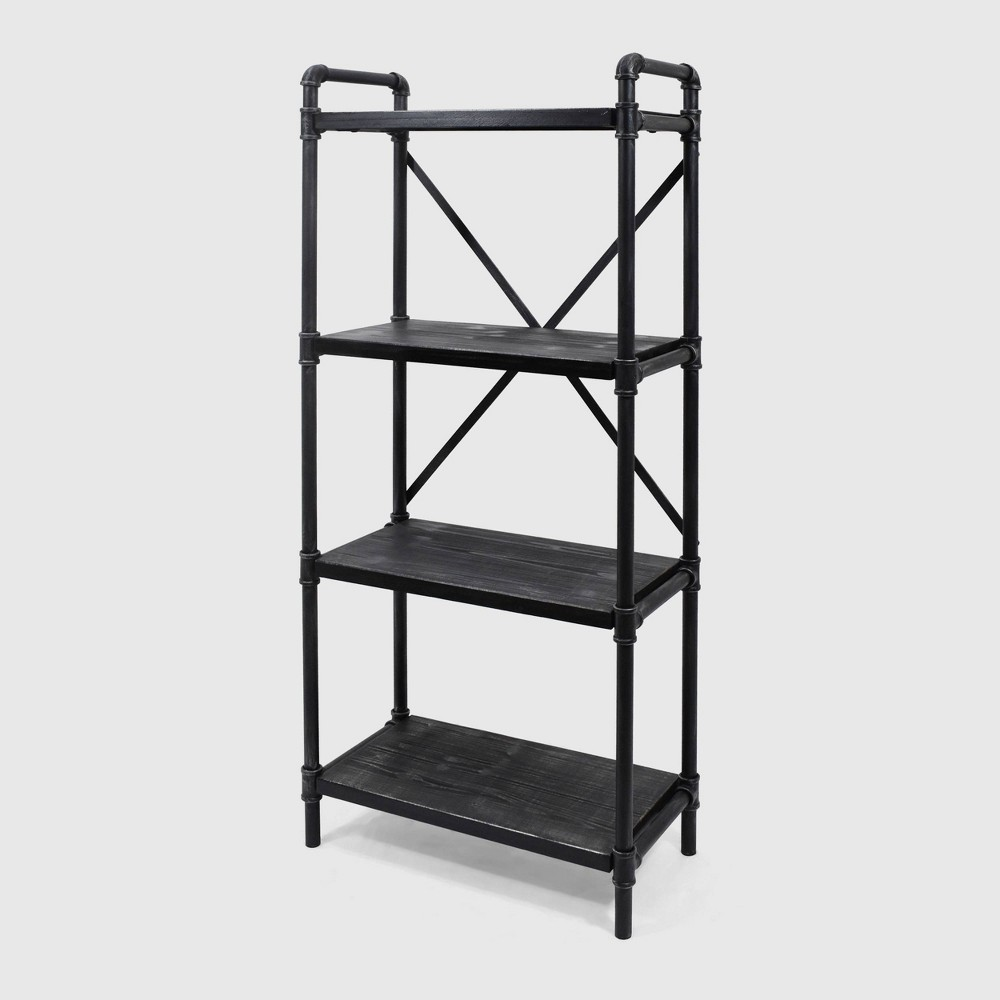 Image of Greenwood Industrial Iron Four Shelf Bookcase Gray/Pewter Finish - Christopher Knight, Gray/Silver Finish