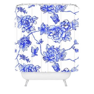 Jacqueline Maldonado Chinoserie Floral Shower Curtain Blue - Deny Designs