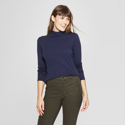 Women's Long Sleeve Fitted Turtleneck - A New Day™ Navy XS