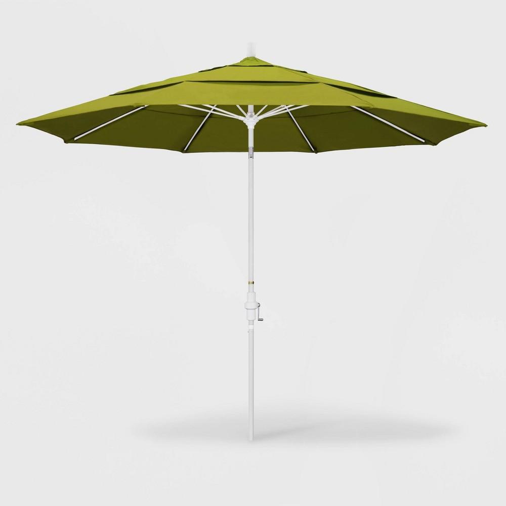Image of 11' Sun Master Patio Umbrella Collar Tilt Crank Lift - Pacifica Ginkgo - California Umbrella