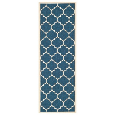 "2'3""X8' Runner Malaga Patio Rug Navy/Beige - Safavieh"