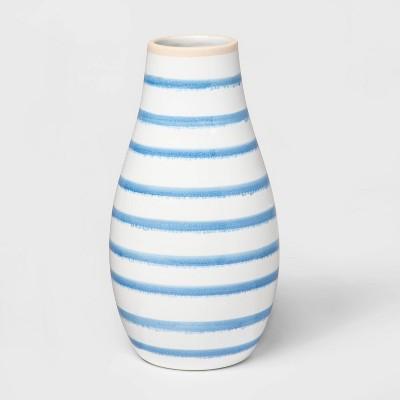 """8.7"""" x 4.6"""" Stoneware Striped Vase Blue/White - Threshold™"""