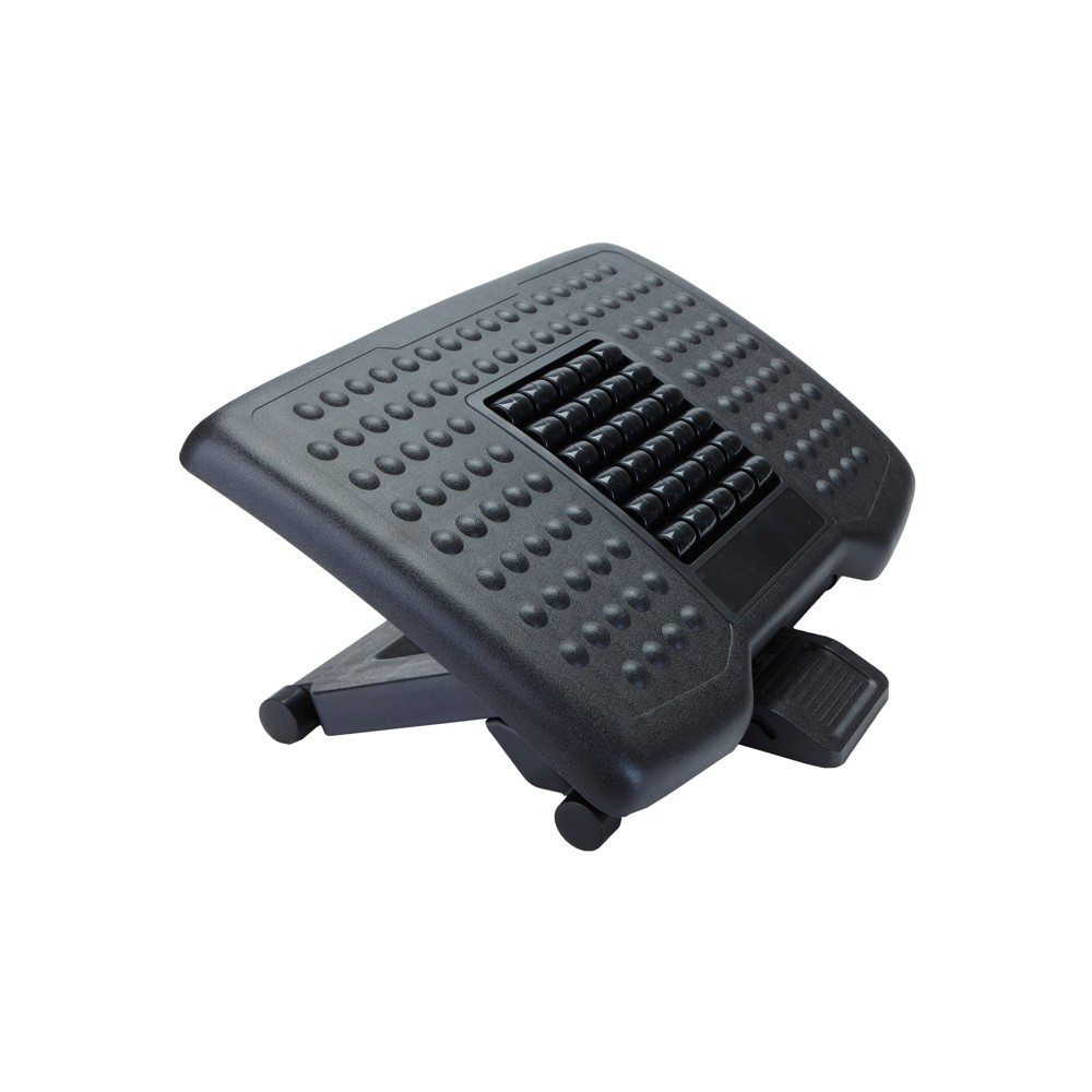 Image of Adjustable Height Foot Rest with Rollers Black - Mind Reader