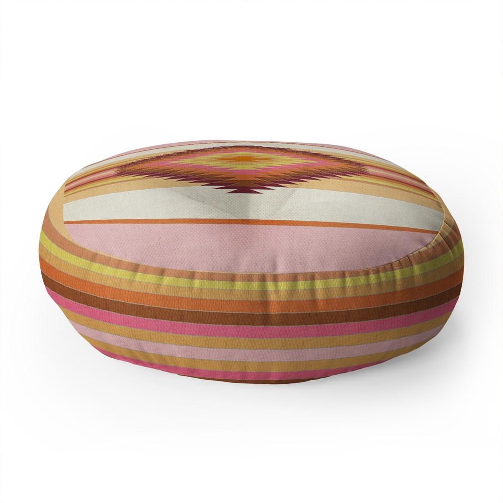 Bianca Fiesta Round Floor Pillow Orange/Pink - Deny Designs
