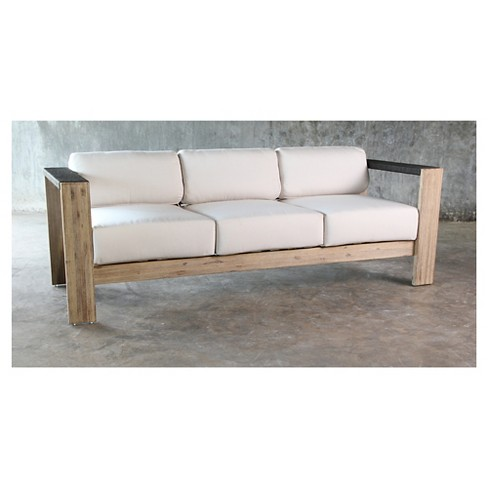 Montpelier Wood Patio Sofa With Sunbrella Fabric White - Smith ...