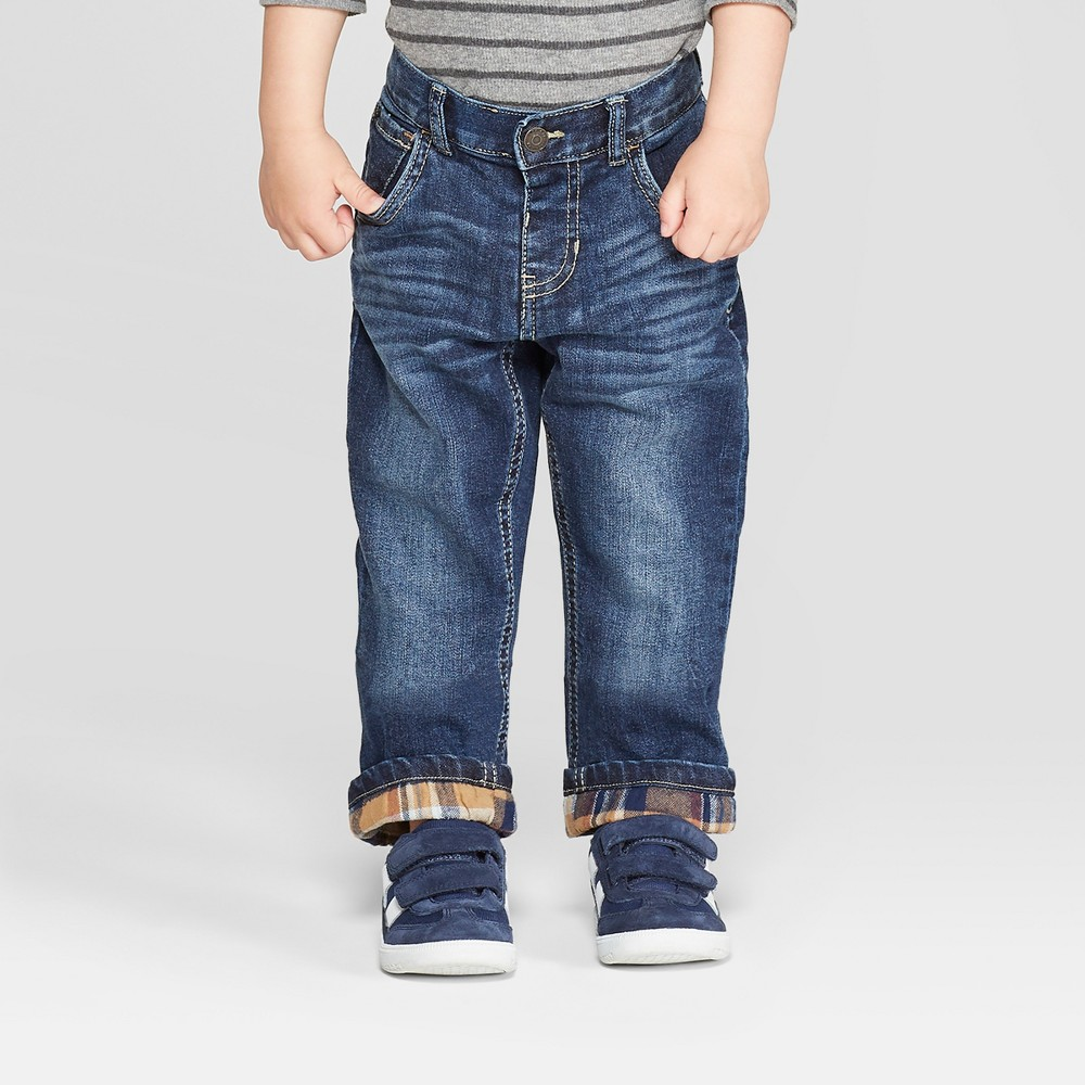 Toddler Boys' Flannel Lined Straight Jeans - Cat & Jack Medium Blue 4T