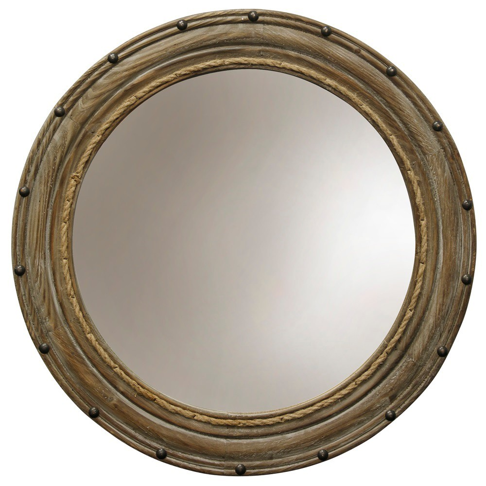 26.4 Rope and Rivets Round Wood Finish Wall Mirror Antique Wood - StyleCraft