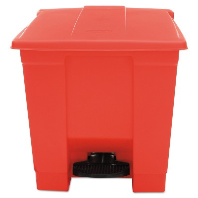 Rubbermaid Commercial Indoor Utility Step-On Waste Container Square Plastic 8gal Red 6143RED