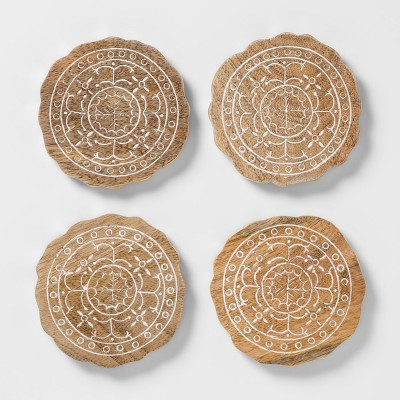 Wood Embellished Coasters 4  Brown/White Set of 4 - Opalhouse™