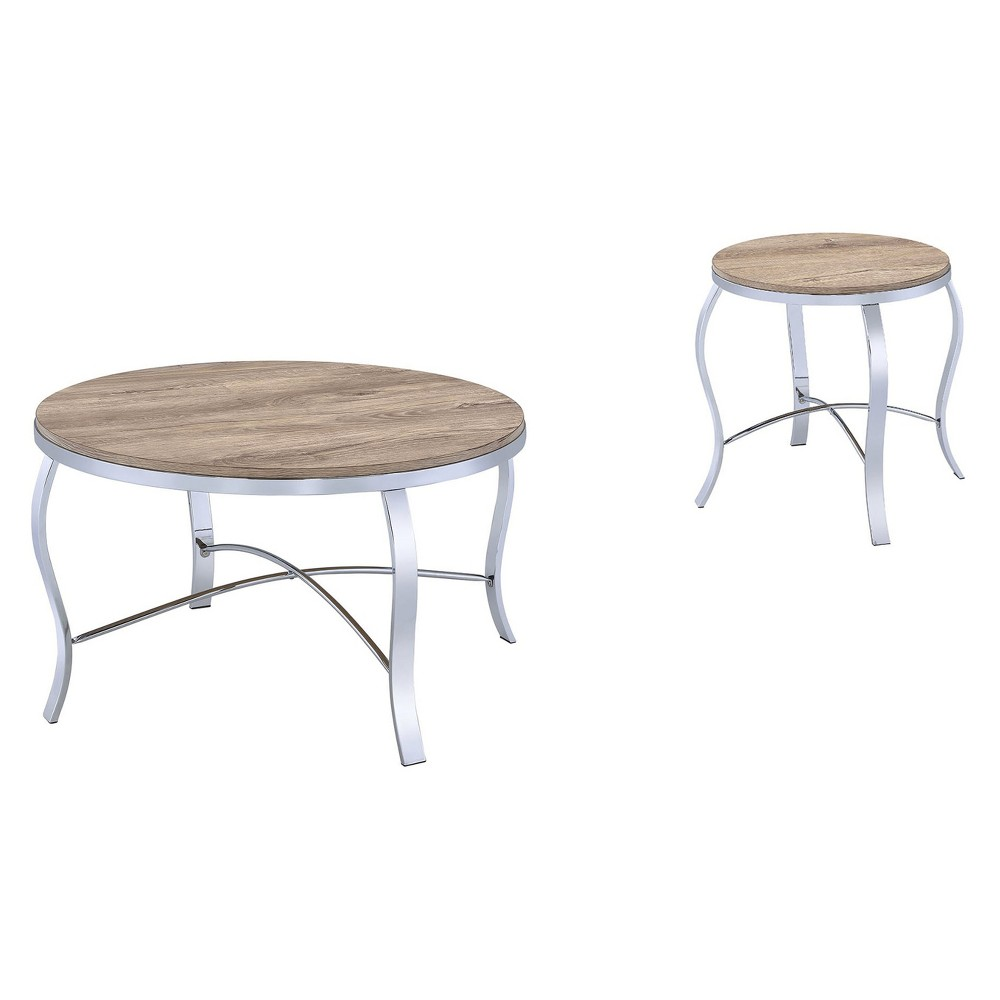 Acme Furniture Occasional Table Set Oak Chrome, Silver Brown