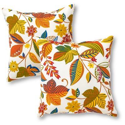 Set of 2 Esprit Floral Outdoor Square Throw Pillows - Kensington Garden