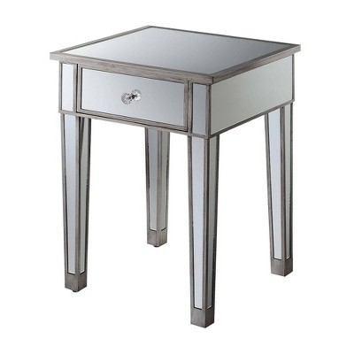 Gold Coast Mirrored End Table with Drawer Antiqued Silver/Mirror - Breighton Home