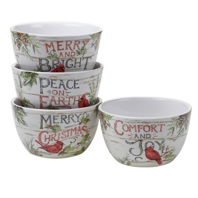 22oz 4pk Earthenware Evergreen Christmas Ice Cream  Bowls - Certified International