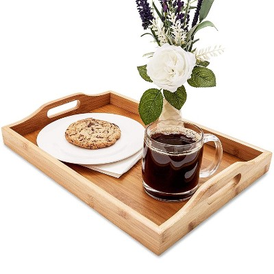 Juvale Bamboo Wood Serving Tray with Handles for Bed, Food, Vanity, Ottoman 16 x 11 x 2 in