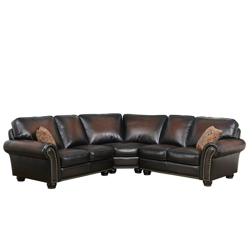 Image of 3pc Mervin Bonded Leather Sectional Brown - Abbyson Living