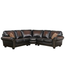 3pc Mervin Bonded Leather Sectional Brown - Abbyson Living