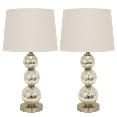 Set of 2 Tri - Tiered Glass Table Lamps Silver (Includes LED Light Bulb)- Decor Therapy