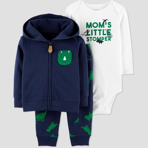 Baby Boys' 3pc Dino Cotton Bodysuit/Cardigan Set - Just One You® made by carter's Navy/Green 18M - image 1 of 1