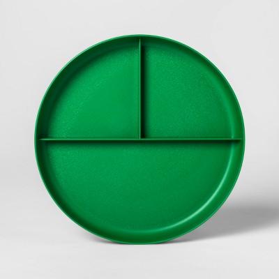 7.3  Plastic Divided Kids Plate Green - Pillowfort™