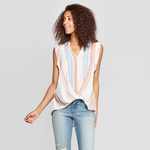 Women's Sleeveless V-Neck Twist Front Top - Universal Thread™ - image 1 of 3