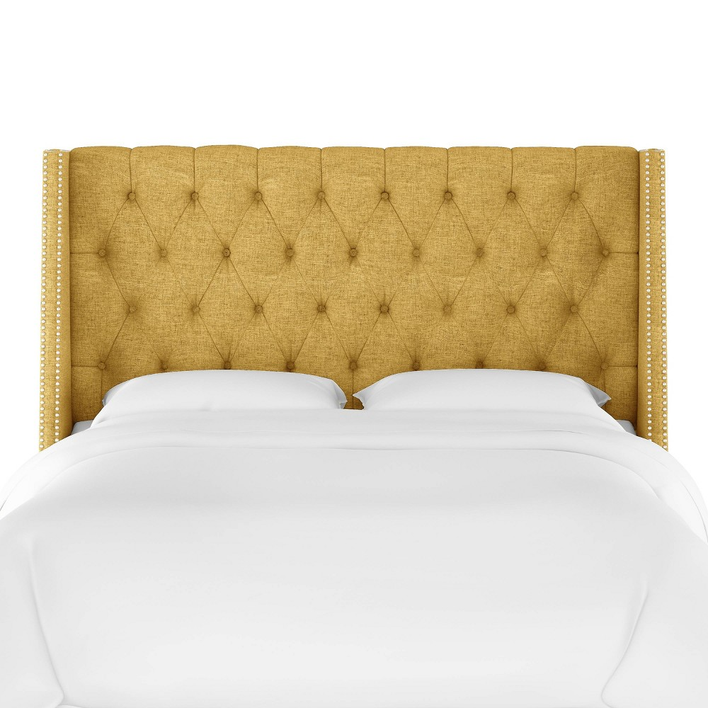 Queen Diamond Tufted Wingback Headboard Golden Yellow Linen with Pewter Nail Buttons - Skyline Furniture