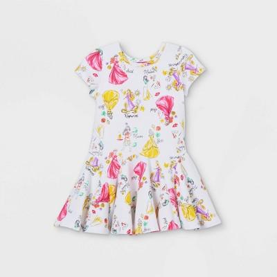 Toddler Girls' Disney Princess Short Sleeve French Terry Dress - White