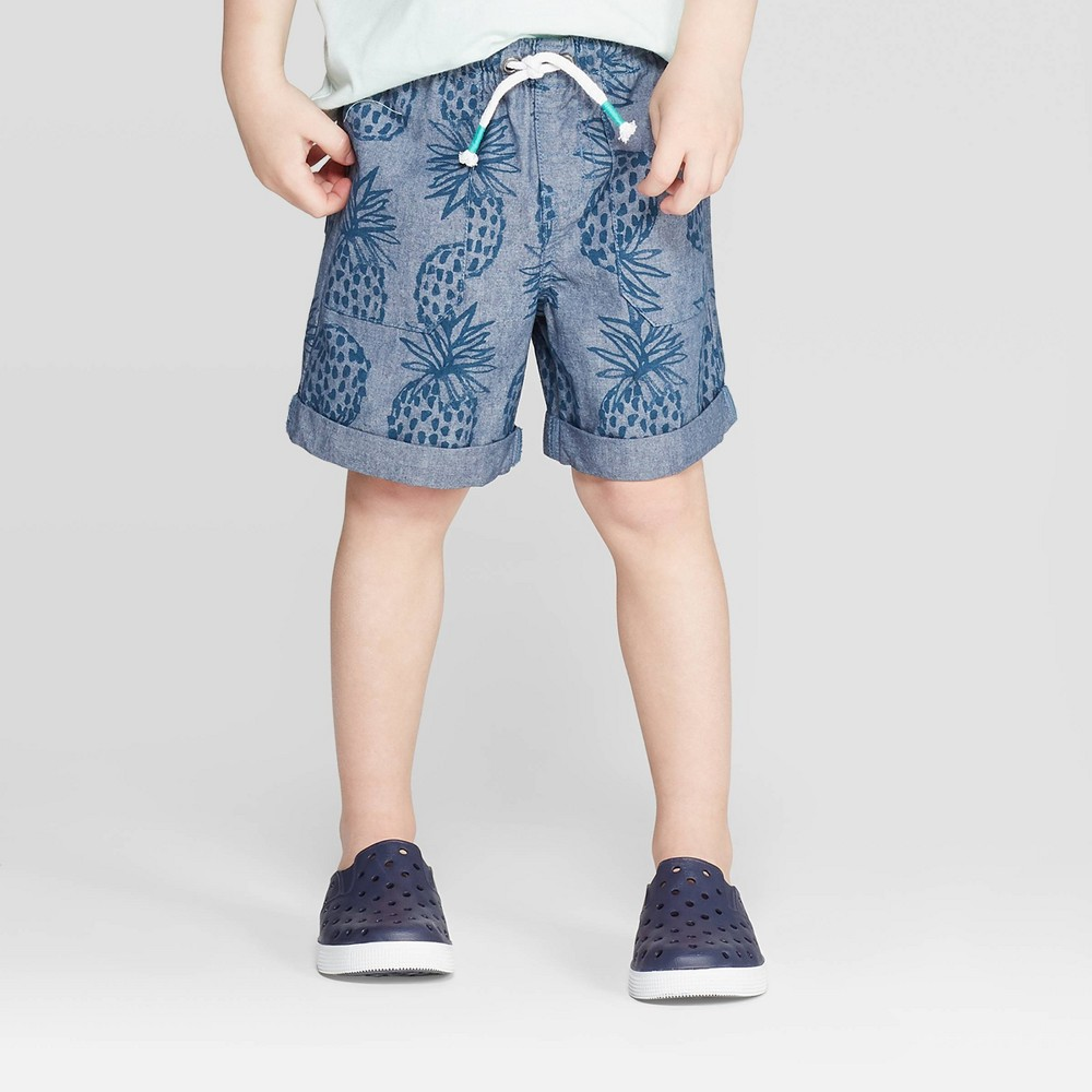 187d95b71b Toddler Boys Broadcloth Chambray Printed Pull On Shorts Cat Jack Blue 5T