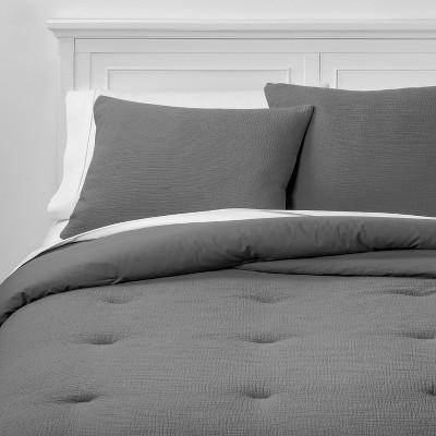 Full/Queen Micro Texture Comforter & Sham Set Stone Gray - Project 62™ + Nate Berkus™