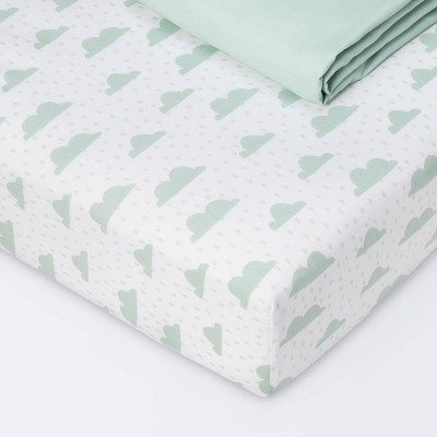 Fitted Crib Sheet - Cloud Island™ Clouds/Mint 2pk