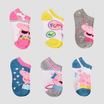 Girls' Peppa Pig 6pk Casual Socks - XS/S