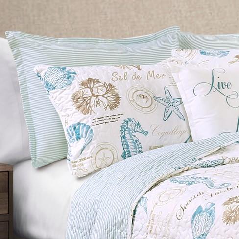 Blue & Taupe Harbor Life Quilt Set (Full/Queen) 7pc - Lush Decor