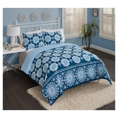 Blue Medallion Karma Love Reversible Comforter Set (Queen)3pc - Vue®