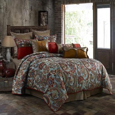 Saverio Abilene Elegant & Classy Floral Tapestry Design Bedding Set With Comforter, Shams & Bedskirt