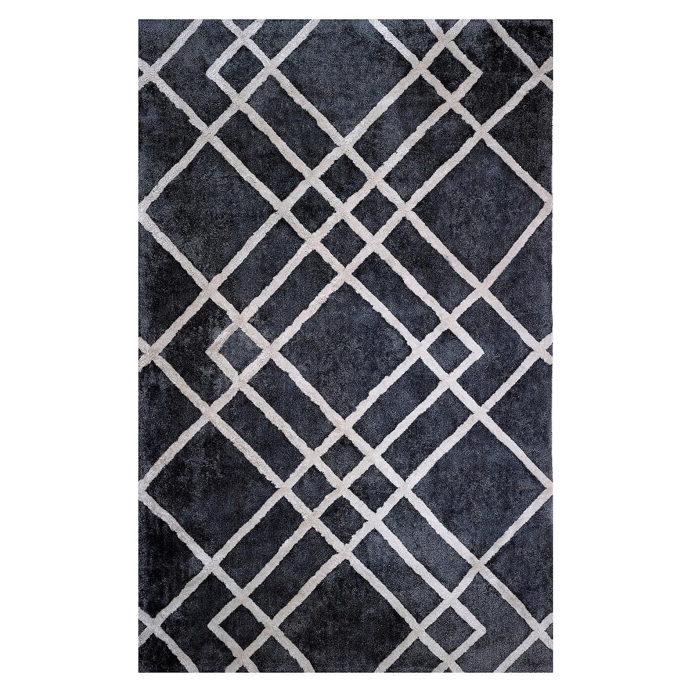 Anji Mountain Rayon made from Bamboo Viscose Grid Area Rug - Gray (8' x 10')