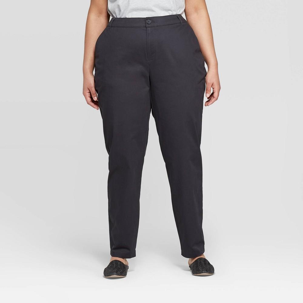 Women's Plus Size Slim Fit Chino Pants - Ava & Viv Dark Gray 16W