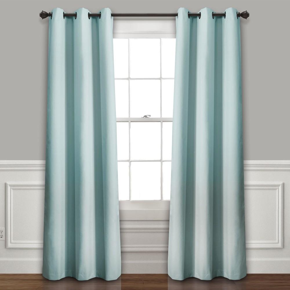 Set of 2 (95x38) Absolute Blackout Window Curtain Panels Blue - Lush Décor Best