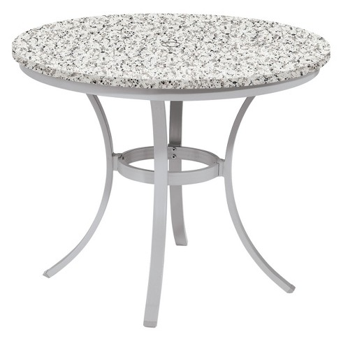 Travira 36 Round Patio Dining Table Powder Coated Steel Frame