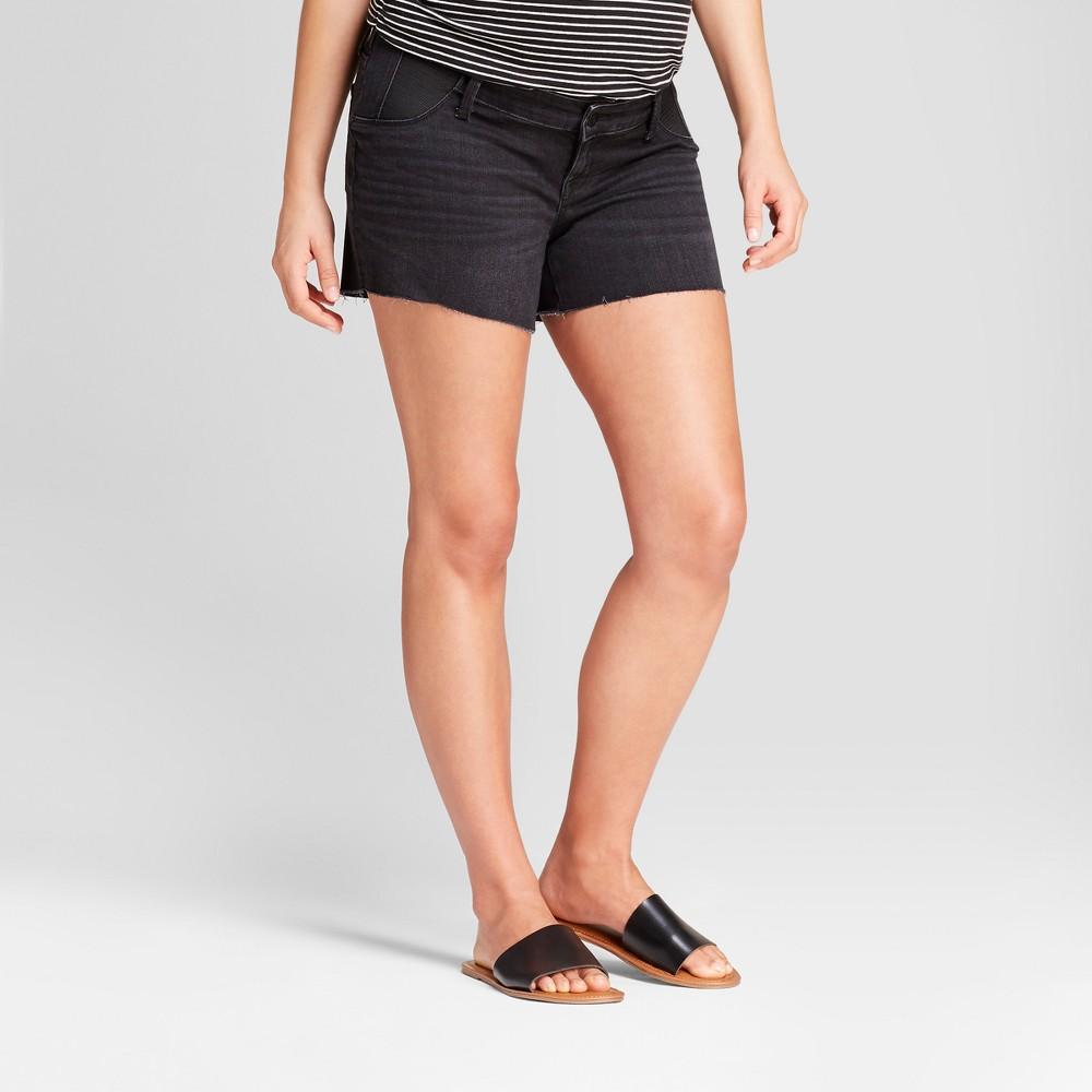Maternity Inset Panel Midi Jean Shorts - Isabel Maternity by Ingrid & Isabel Black wash 10, Women's