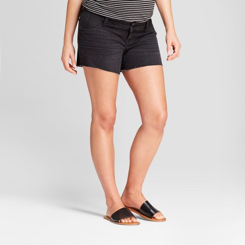 Maternity Inset Panel Midi Jean Shorts - Isabel Maternity by Ingrid & Isabel™ Black Wash - image 1 of 4