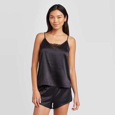 Women's Satin Cami and Shorts Pajama Set - Stars Above™ Black S
