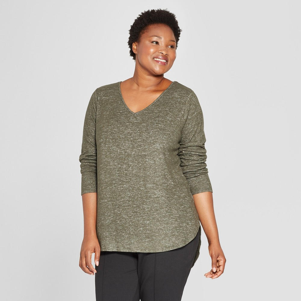 Women's Plus Size Cozy Long Sleeve V-Neck Pullover - Ava & Viv Heather Olive 1X