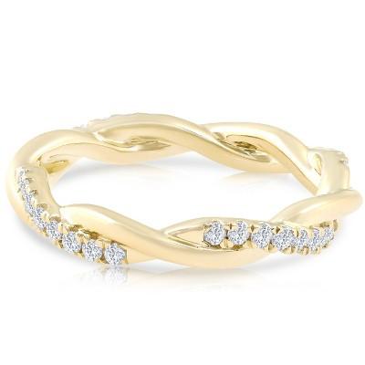 Pompeii3 1/3 Ct Diamond Eternity Petite Twist Vine Eternity Ring 10k Yellow Gold