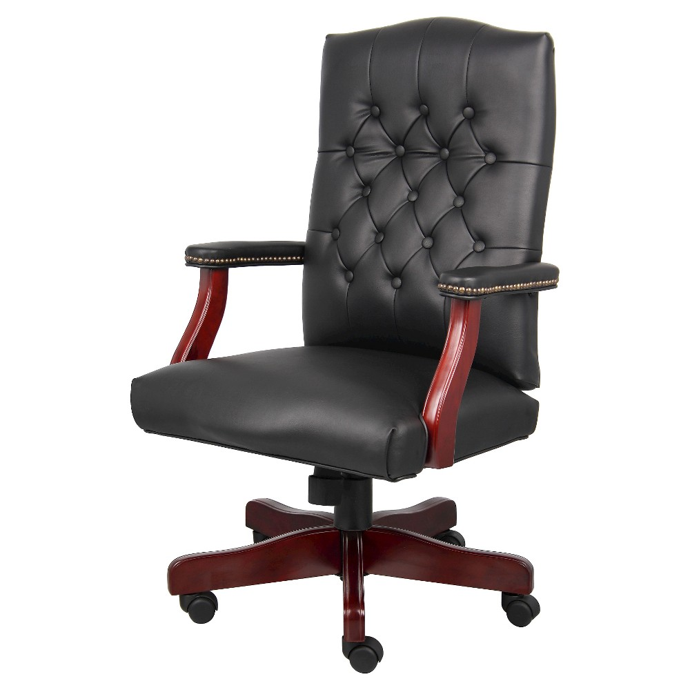 Classic Black Caressoft Chair With Mahogany Finish Black - Boss Office Products