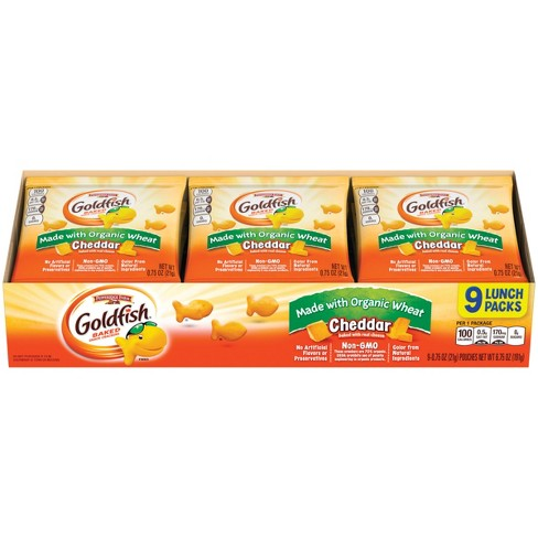 Pepperidge Farm® Goldfish® Made with Organic Wheat Cheddar Crackers, 6.75oz Multipack Tray, 9ct 0.75oz Single-Serve Snack Packs - image 1 of 6